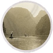 Boats On The River Tam Coc No1 Round Beach Towel