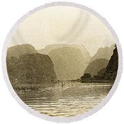 Boats On The River Tam Coc No2 Round Beach Towel
