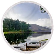 Boats On The Shore. Round Beach Towel