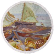 Boats On The Shore Round Beach Towel