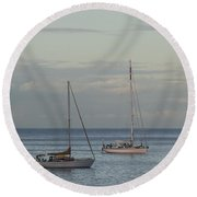 Boats On The Water Round Beach Towel