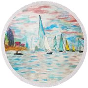 Boats On Water Monet  Round Beach Towel
