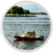 Boats - Police Boat Norfolk Va Round Beach Towel
