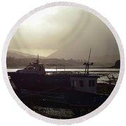 Boats, Portree, Isle Of Skye Round Beach Towel