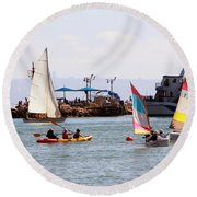 Boats Race Round Beach Towel