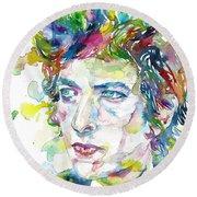 Bob Dylan - Watercolor Portrait.19 Round Beach Towel