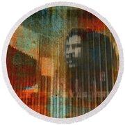 Bob Marley Abstract II Round Beach Towel