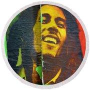 Bob Marley Door At Pickles Usvi Round Beach Towel