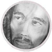 Bob Marley Pencil Portrait Round Beach Towel