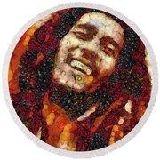 Bob Marley Vegged Out Round Beach Towel