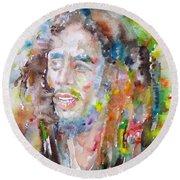 Bob Marley - Watercolor Portrait.17 Round Beach Towel