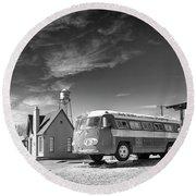 Bob Wills And The Texas Playboys Tour Bus Turkey Tx Round Beach Towel by Mary Lee Dereske