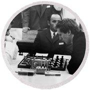 Bobby Fischer (1943-2008) Round Beach Towel