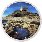 Bob's Cave At Mumbles Lighthouse Round Beach Towel
