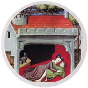 Boccaccio: Lovers, C1430 Round Beach Towel
