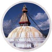 Bodhnath Stupa Round Beach Towel