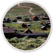 Bodie Ghost Town Panorama Round Beach Towel
