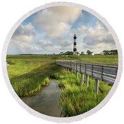 Bodie Island Lighthouse North Carolina Round Beach Towel