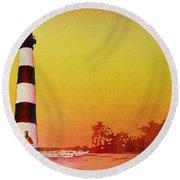 Bodie Island Lighthouse Sunset Round Beach Towel