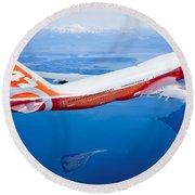 Boeing 747-8 Round Beach Towel