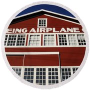 Boeing Airplane Hanger Number One Round Beach Towel