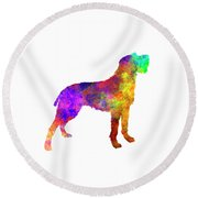 Bohemian Wirehaired Pointing Griffon In Watercolor Round Beach Towel