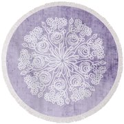 Boho Floral Mandala 1- Art By Linda Woods Round Beach Towel