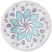 Boho Floral Mandala 4- Art By Linda Woods Round Beach Towel