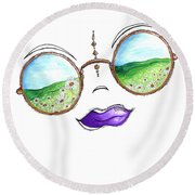Boho Gypsy Daisy Field Sunglasses Reflection Design From The Aroon Melane 2014 Collection By Madart Round Beach Towel