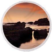 Boiler Bay Sunset Round Beach Towel