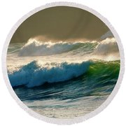 Boiler Bay Waves Rolling Round Beach Towel by Mike  Dawson
