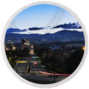 Boise Skyline In Early Morning Hours Round Beach Towel