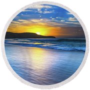 Bold And Blue Sunrise Seascape Round Beach Towel