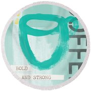 Bold And Strong In Blue- Art By Linda Woods Round Beach Towel