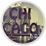 Bold Chicago Round Beach Towel