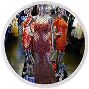 Bold Mannequins Fashion Display In Palma Majorca Spain Round Beach Towel