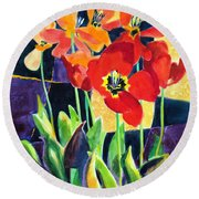 Bold Quilted Tulips Round Beach Towel