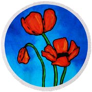 Bold Red Poppies - Colorful Flowers Art Round Beach Towel