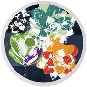 Bold Succulents 1- Art By Linda Woods Round Beach Towel by Linda Woods