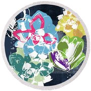 Bold Succulents 2- Art By Linda Woods Round Beach Towel by Linda Woods