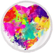Bold Watercolor Heart - Digital Art Round Beach Towel