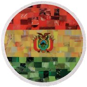Bolivia Flag Round Beach Towel