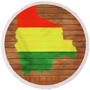 Bolivia Rustic Map On Wood Round Beach Towel