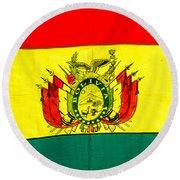Bolivian Flag Round Beach Towel