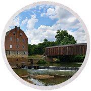 Bollinger Mill And Covered Bridge Round Beach Towel