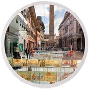 Bologna Artworks Of The City Hanging In  Round Beach Towel