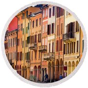 Bologna Window Balcony Texture Colorful Italy Buildings Round Beach Towel