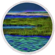 Bolsa Chica Wetlands I Abstract 1 Round Beach Towel