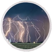 Bolts Over Bushland Round Beach Towel