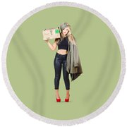 Bombshell Blond Pinup Woman In Dangerous Style Round Beach Towel